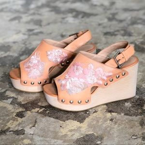 Alexander McQueen Floral Brown Leather Wood Wedges